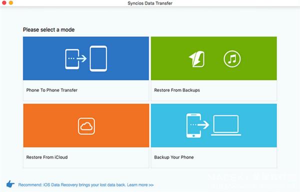 Syncios-Data-Transfer-01 Syncios Data Transfer 1.2.7 for Mac iOS设备数据传输软件
